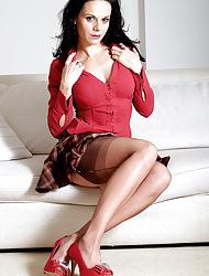 Elegant MILF Investor Lavinia strips near their way morose underwear increased by FFS stockings